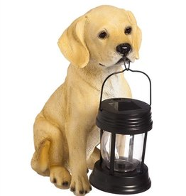 Faithful Dog Statue with Solar Lantern