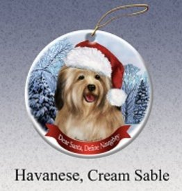Pet Gifts Round Ornament Havanese  (Cream)