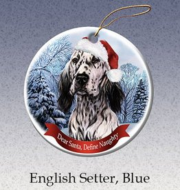 Pet Gifts Round Ornament English Setter (Blue)