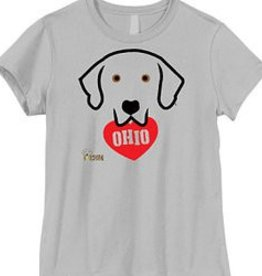Doggishwear I Heart Ohio Black Lab WHITE Tee Shirt