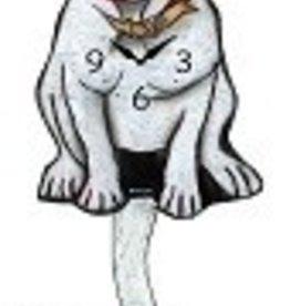 Wagging Tail Clock, Pitbull, White