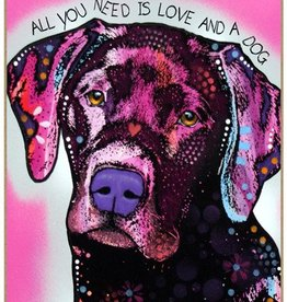Russo Sign-Labrador - All you need is love and a dog (pink background)