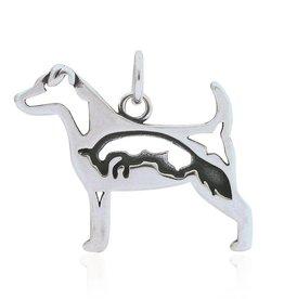 Sterling Silver Jack Russell Terrier w/Fox Pendant,
