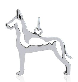 Sterling Silver Great Dane Pendant, Cropped Ears Body