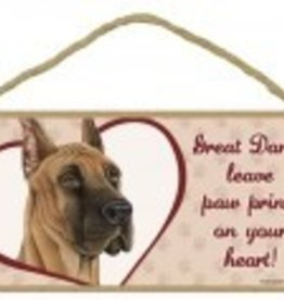 Wood Sign Great Dane  leave paw prints on your heart!