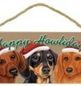 Happy Howlidays 3 Doxies Christmas Sign