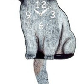 Wagging Tail Clock, Toy Poodle, White
