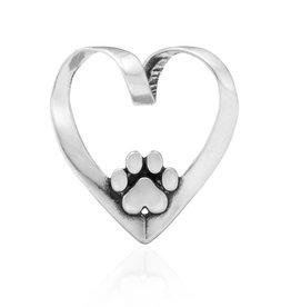 Sterling Silver Heart Dog Slide