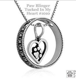 Sterling Silver Paw Blinger Enhancer w/Tucked In My Heart Pendant