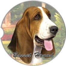 Absorbent Car Coaster - Basset Hound