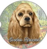 Absorbent Car Coaster - Cocker Spaniel, Blonde
