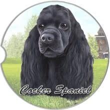 Absorbent Car Coaster - Cocker Spaniel, Black