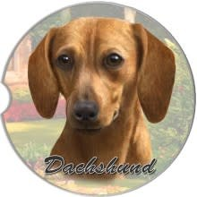 Absorbent Car Coaster - Dachshund, Red