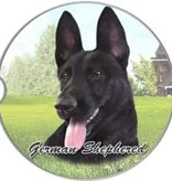 Absorbent Car Coaster - German Shepherd, Black