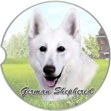 Absorbent Car Coaster - German Shepherd, White