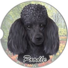 Absorbent Car Coaster - Poodle, Black