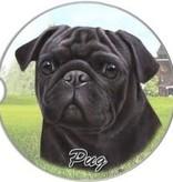 Absorbent Car Coaster - Pug, Black