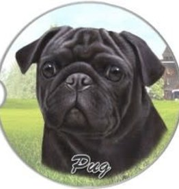 Absorbent Car Coaster - Pug, Black