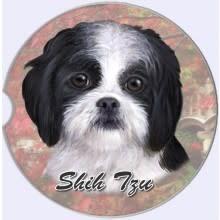 Absorbent Car Coaster - Shih Tzu, Black & White, Puppy Cut