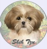Absorbent Car Coaster - Shih Tzu, Tan & White, Puppy Cut