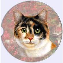 Absorbent Car Coaster - Calico Cat