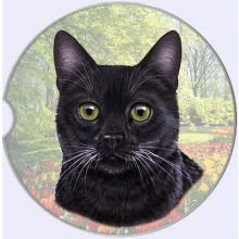 Absorbent Car Coaster - Black Cat