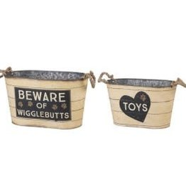 TIN BINS - TOYS, BEWARE OF WIGGLEBUTTS