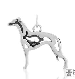 Sterling Silver Whippet Pendant w/Bunny