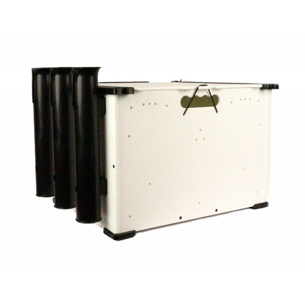 (Closeout) BlackPak, 12''x16''x11'', White, Includes lid and 3 rod holders