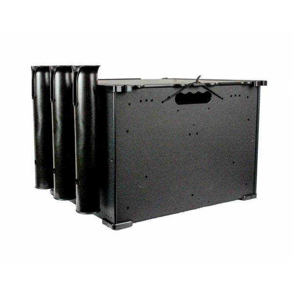 BlackPak, 12X16X11, Black, Includes lid and 3 rod holders