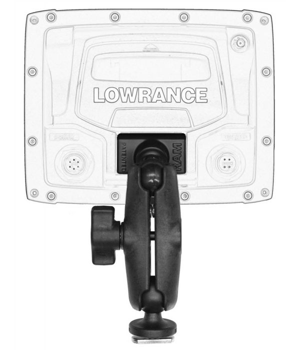 Yak-Attack Screwball Combo, RAM Mounts® Ball Mount for Lowrance Elite-4 & Mark-4 Series Fishfinders, Includes composite connector and 1'' Screwball.