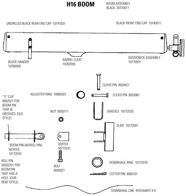 Hobie 16 Boom Parts Mariner Sails