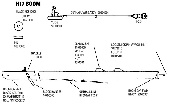 Hobie 17 Boom Parts - Mariner Sails