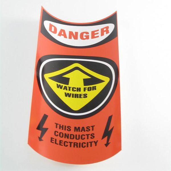 Orange Mast Caution Decal