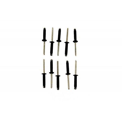Yak-Attack Tri Fold Rivet, 10 pack, .187 dia, .157 - .472 grip. Aluminum, Black, Made in USA