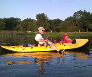 Mike Stovall kayaking on Whiterock Lake
