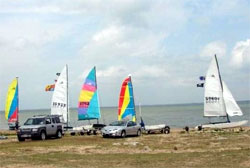 Hobie Point is a popular launch on Lake Lewisville.