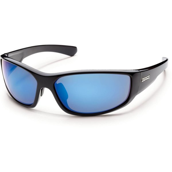 Pursuit Sunglasses: Black/Blue Mirror Polarized Polycarbonate Lens
