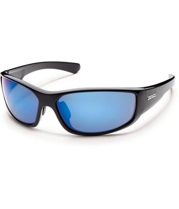 Suncloud Pursuit Sunglasses: Black/Blue Mirror Polarized Polycarbonate Lens