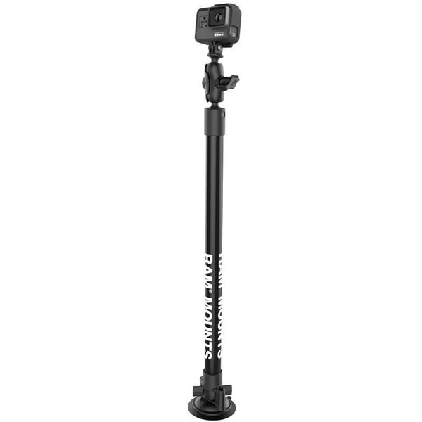 "Twist-Lock™ Suction Cup Mount with 18"" Pole and Action Camera Ball Adapter"