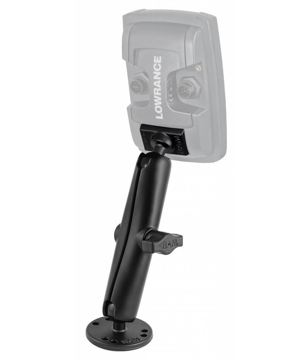 """RAM Mounts® 1"""" Ball Marine Electronic """"LIGHT USE"""" Mount with Long Double Socket Arm for Lowrance Elite-4 & Mark-4 Series Fishfinders"""