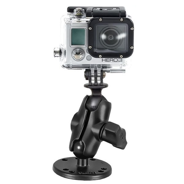 "Flat Surface Mount, Short Double Socket Arm & 1"" Diameter Ball with Custom GoPro® Hero Adapter"