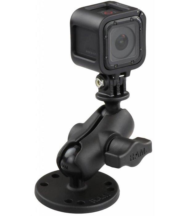 "RAM Mounts® Flat Surface Mount, Short Double Socket Arm & 1"" Diameter Ball with Custom GoPro® Hero Adapter"