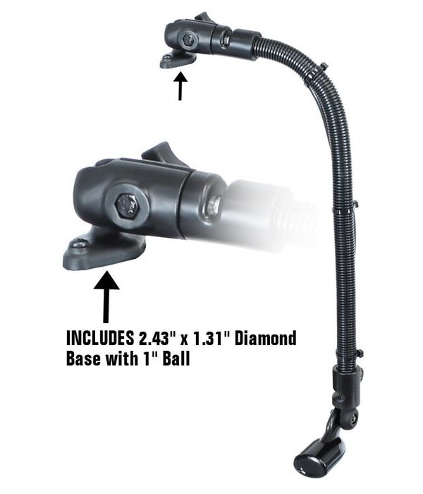 "RAM Mounts® Transducer Arm Mount with 18"" Rigid Aluminum Rod and 2.43"" x 1.31"" Diamond Base"