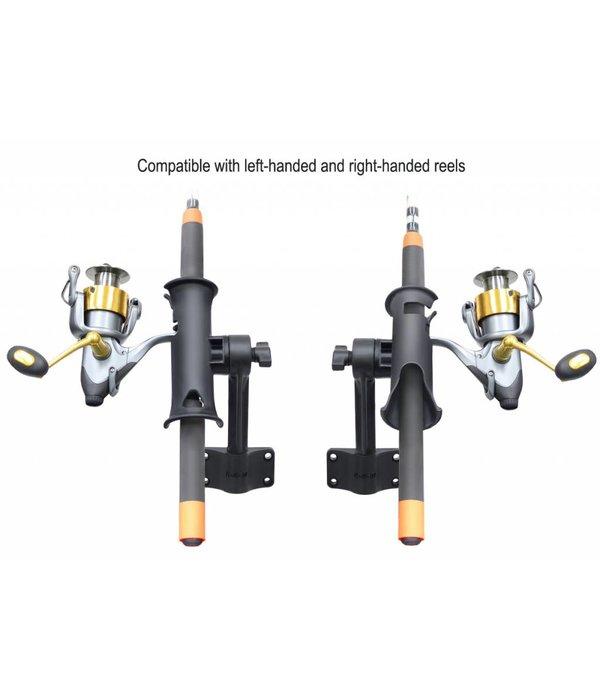 """RAM Mounts® RAM Tube Jr.™ Fishing Rod Holder with 6"""" Length Spline Post & Bulkhead Mounting Base"""