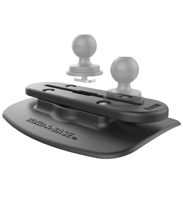 RAM Mounts® Black Bond-A-Base™ For Inflatable Rafts with Tough-Track™