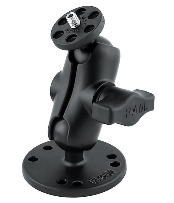 RAM Mounts® Flat Surface Mount with Short Double Socket Arm & 1/4-20 Camera Threaded Adapter