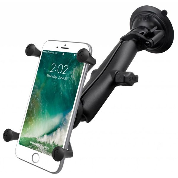 Twist-Lock™ Suction Cup Mount with LONG Length Double Socket Arm & Universal X-Grip® Large Phone/Phablet Cradle