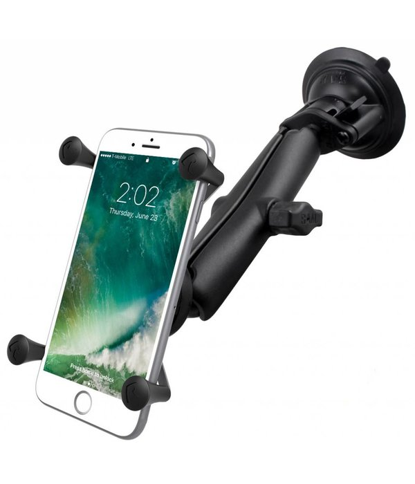 RAM Mounts® Twist-Lock™ Suction Cup Mount with LONG Length Double Socket Arm & Universal X-Grip® Large Phone/Phablet Cradle