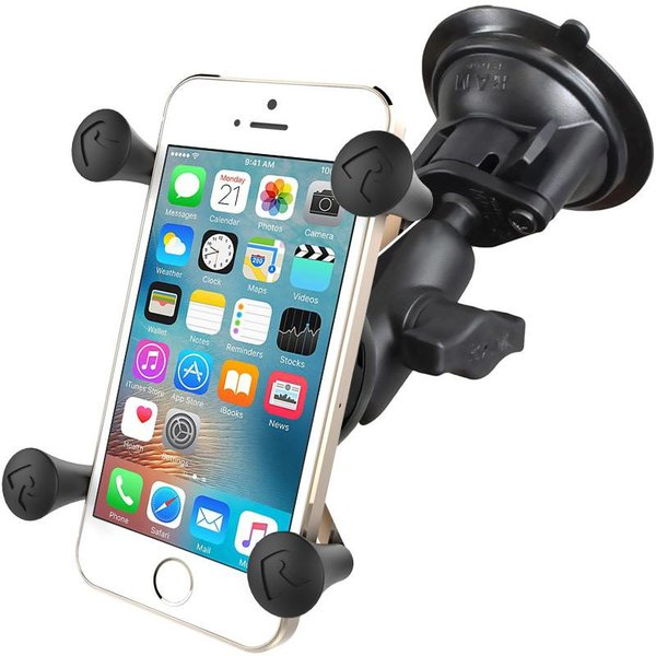 Twist-Lock™ Suction Cup with Short Double Socket Arm and Universal X-Grip® Cell/iPhone Cradle
